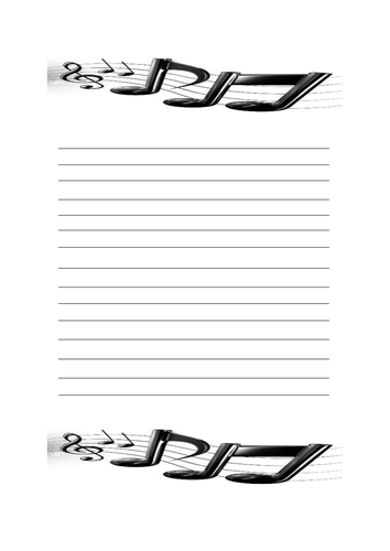 Music notes writing paper