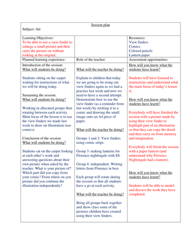 View Finder lesson plans