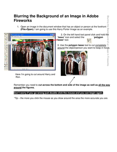 Blurring the Background in Adobe Fireworks
