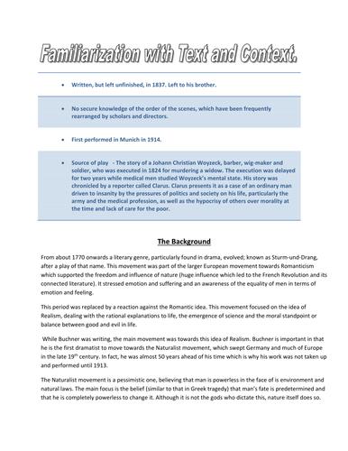 Familiarization with context - woyzeck