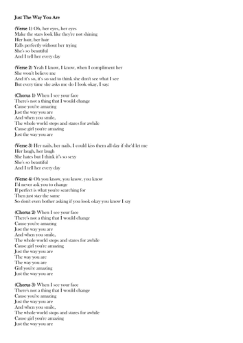 Lyrics of just the way you are female version