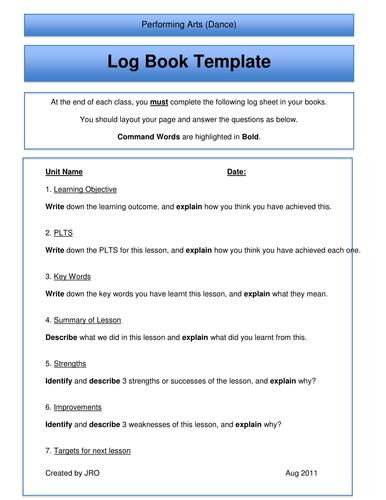 Performing Arts Log Book Template