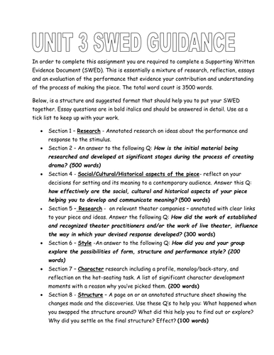 A Supporting Written Evidence Document