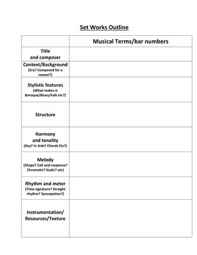 Music Analysis Outline