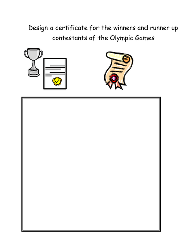 Design a certificate for the Olympic Games
