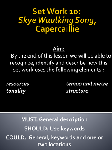 Capercaillie: Lessons 1 and 2