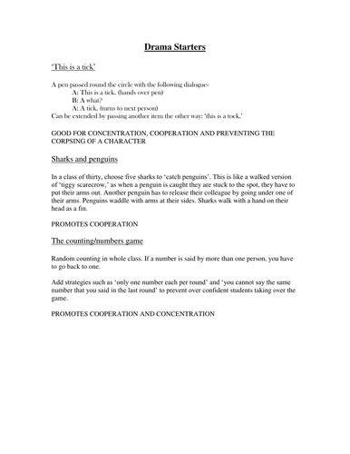 Drama Starters : full instructions