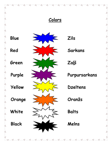 colors in English and Latvian