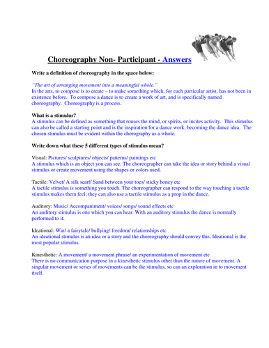 Choreogrpahy Non-Participant task (with answers)