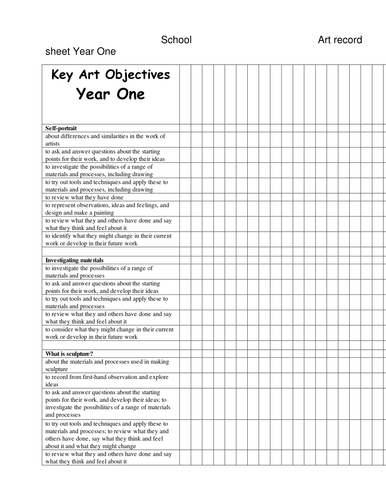 Record of Key Objectives in Art