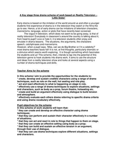 Big Brother Scheme of work