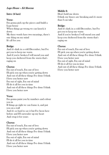 Lego House - Ed Sheeran - Chords and Lyrics