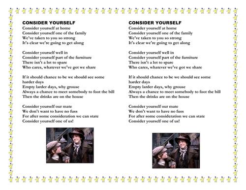 Consider Yourself lyrics- Oliver Twist