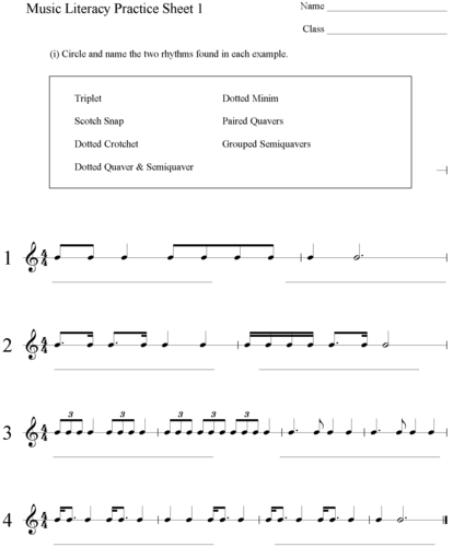 Music Literacy Practice Sheets