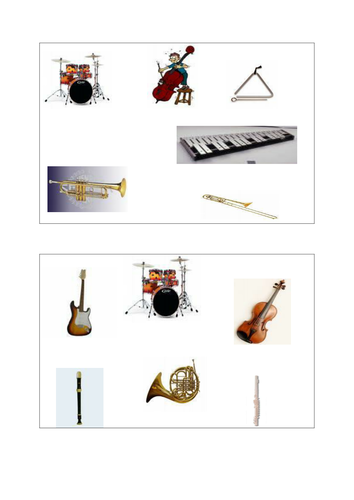 Musical instrument bingo