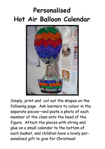 Personalized Hot Air Balloon Calendar