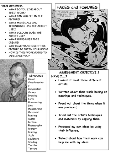 Student checklist for looking at artists work