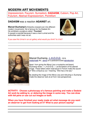 DADA WORKSHEET: Modern Art Movements