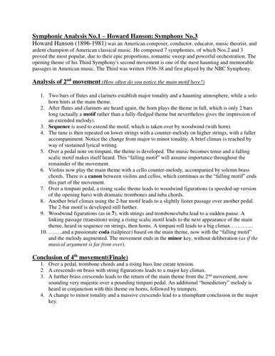 Analysis - Symphony No. 3; 2nd movement/Finale