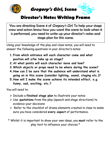 Director's Notes Writing Frame