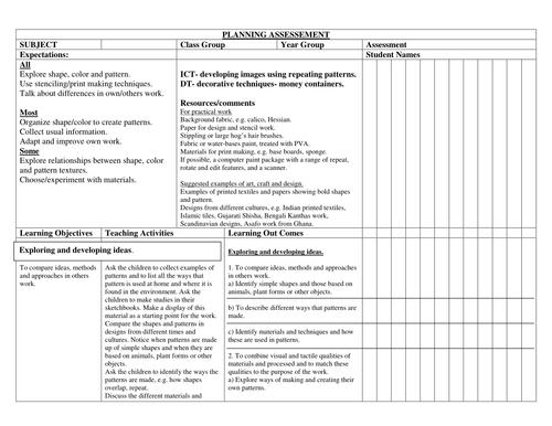 Investigating pattern;planning