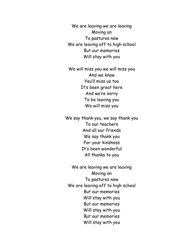 We are Leaving - Leavers' Assembly song