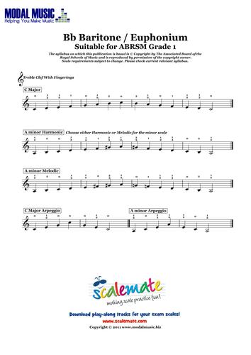 Scale Sheet - Grade 1 Baritone