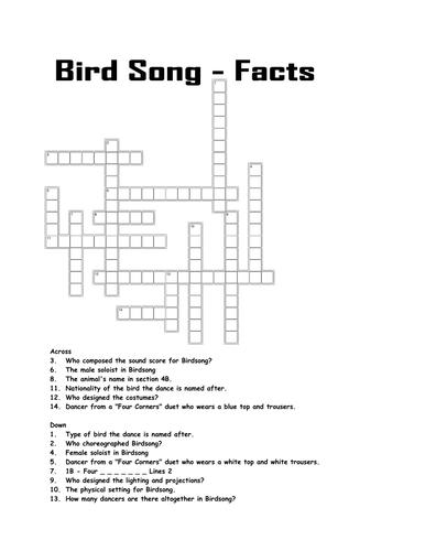 Bird Song Cross Word