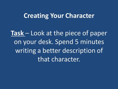 Descriptive writing character