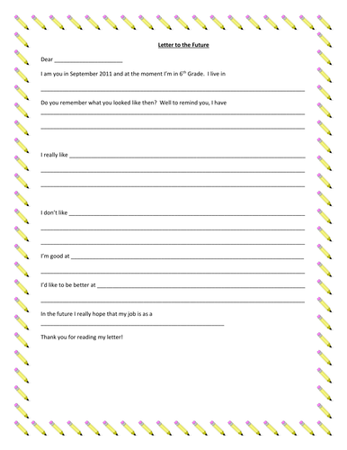 Autobiography Letter to the Future Writing Frame