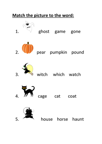 Halloween - match the picture to the word