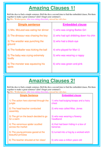 Amazing clauses sentence game - embedded; nouns