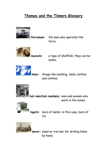 Picture Glossary Thomas and the Tinners