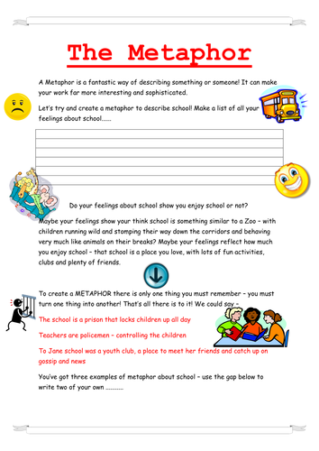 Metaphor Worksheet with reference to 'Boy'