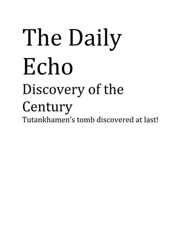 A newspaper article about Tutankhamun