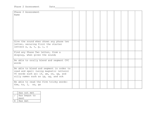 Letters and Sound assessment tick sheet