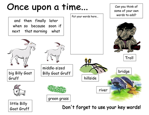 3 Billy Goats Gruff word mat by twins1 - Teaching Resources - Tes