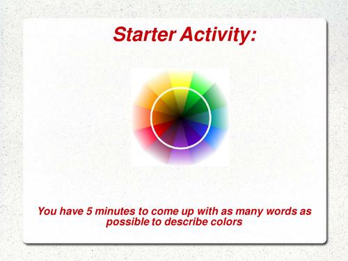 Creative writing starter task  - describing color