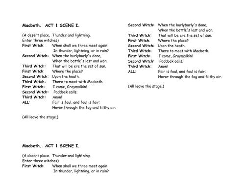 Abridged Shakespeare scenes