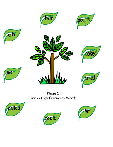 High Frequency word trees stages letters & sounds