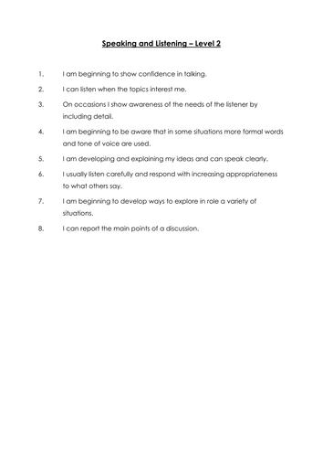 Speaking & Listening student targets