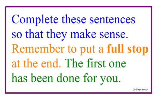 Write some simple sentences