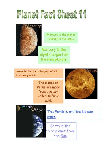 Planets Non Fiction Fact sheets