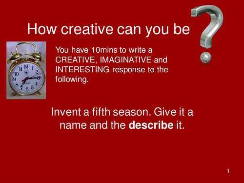 Creative Writing Prompts PowerPoint