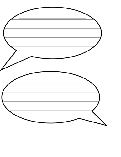 Speech bubbles with lines for writing by landoflearning for Cloud template with lines