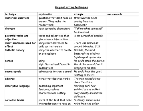 original writing techniques in ghost stories