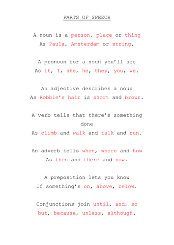 Parts of speech poem / quiz / starter by WoodyR - Teaching ...
