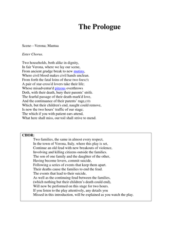 Romeo & Juliet - The Prologue and Translation by SC87 - Teaching ...
