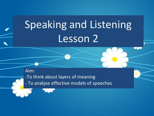 Speaking and listening- individual presentation