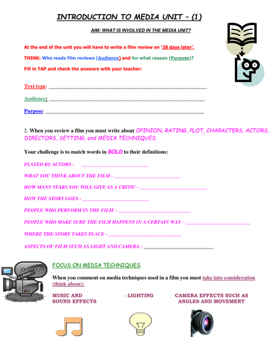 INTRODUCTION TO MEDIA WORKSHEET